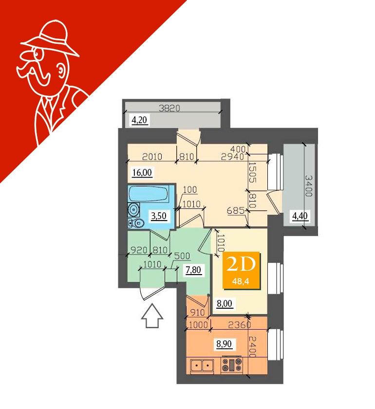 планировка квартиры 48 кв.м фото